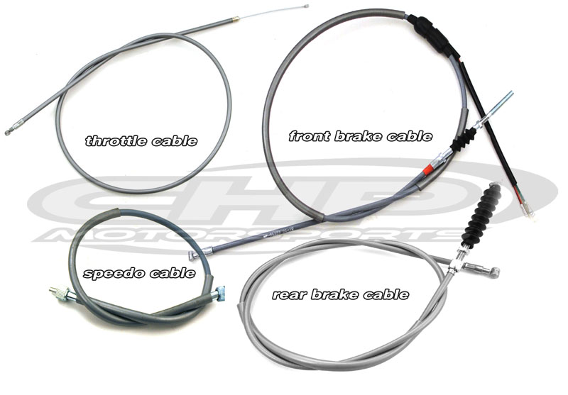 Cable Set, CT70 K1-K2, Grey with SHORT throttle cable